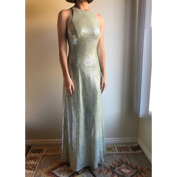 0ca02f00d9  vintage  90s sequin high neck formal gown. M 5a92faa63b16086ece789d0e.  Other Dresses ...